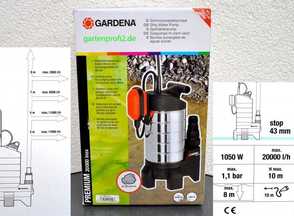 gardena premium schmutzwasserpumpe 20000 inox in neufarn. Black Bedroom Furniture Sets. Home Design Ideas